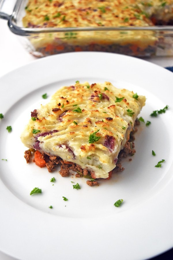 A piece of Instant Pot shepherd's pie on a plate