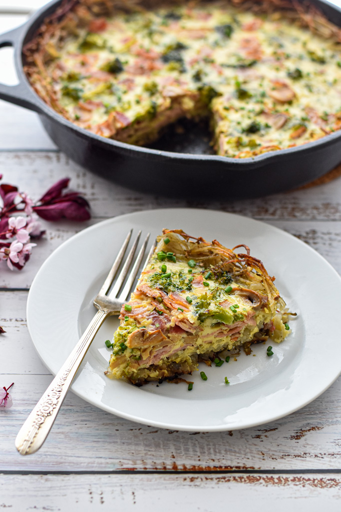 a slice of low fodmap quiche with ham, mushrooms and broccoli on a white plate with a fork in front of a pan of quiche on a white background